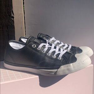 Converse Black Leather Low top Jack Purcell's